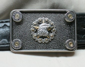 Bullet Belt Buckle American Eagle Star Nickel 308 Winchester