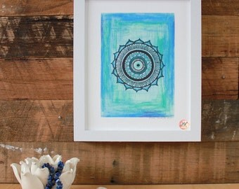 Throat Chakra Mandala, Giclee Fine Art Print