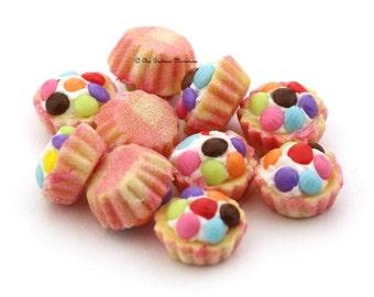 Dolls House Miniature Food-Pink Cupcakes
