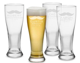 Personalized Wedding Glass, Personalized Beer Pilsner, Engraved Beer Glass, Groomsmen Glasses, Best Man, Wedding Glasses