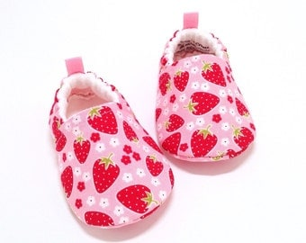 Pink Strawberry Baby Shoes, Soft Sole Baby Shoes, Baby Booties, Toddler slippers