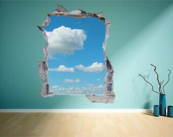 Cloud Sky Brick Wall Hole 3D Wall Art Sticker Decal Mural Print Transfer WAP-B107A