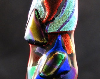 Custom Crafted, Handmaid, Dichroic Glass, Fused Glass, Art On Glass, MultiColor Dichroic, Fused Pendant