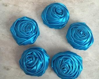 2 inch blue rosette, blue satin flowers, headband supplies, roses, headband flowers, wedding flowers, silk flowers, rolled flower