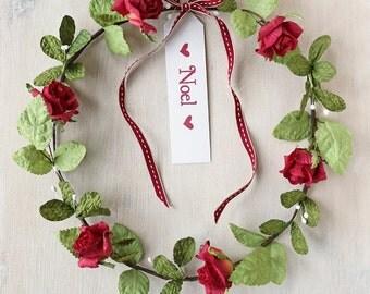 Christmas Mistletoe & Rose Paper Wreath