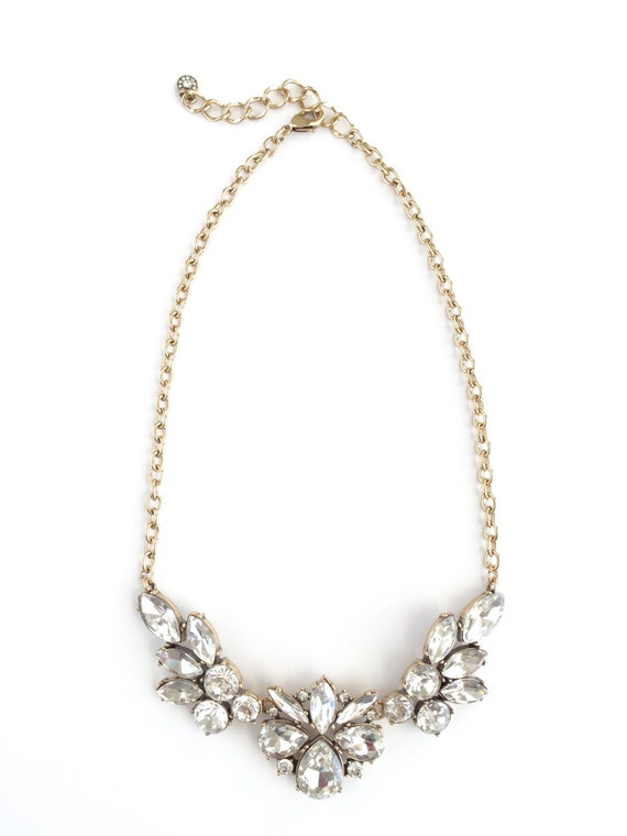 Floral Crystal Blossom Cluster Statement Necklace