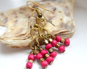 Beautiful upcycled Summer style Pink glass and metal beads drop handmade earrings