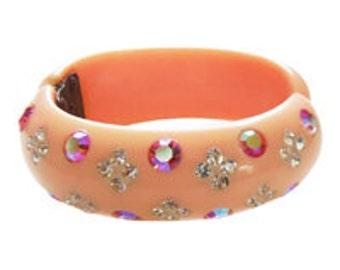 1950's  Rhinestone Clamper Bracelet, Hinged Bangle,Hot Pink