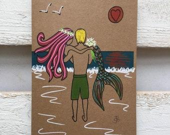 Mermaid surfer surf art Wedding card love couple embrace sea beach theme mythical surfing anniversary