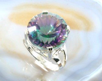 Mystic topaz and 925 Sterling Silver Ring  --  4986