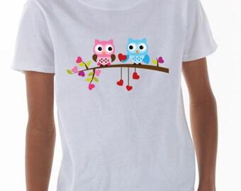 2 Owls on a branch - Kids T-Shirt