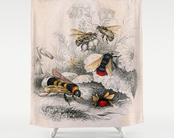 "VICTORIAN BEES     Shower Curtain   71"" BY 74""   Art-Bath-Bathroom-Home Decor-Curtain"