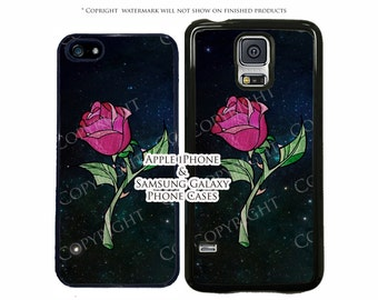 Disney Beauty and The Beast Stained Glass Rose Galaxy Case For Apple iPhone 7 iPhone 7 Plus iPhone 6 6s 5 5s SE Galaxy Phone s7 Edge S6 S5