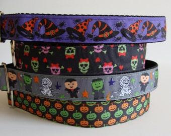 READY TO SHIP! Halloween Dog Collars - Witch Hat, Skulls, Monster Bash, Pumpkins