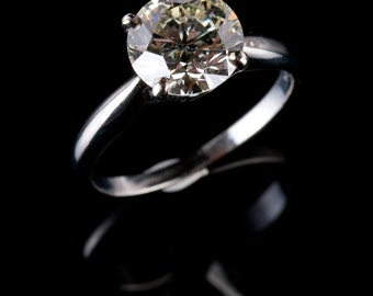 Classy Vintage 1950's 14k White Gold Round Cut Diamond Solitaire Engagement Ring 2.2ct