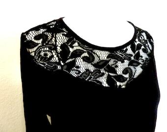 Longshirt Tunic Womens Blouse Sweater dress lace black