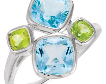 925 Sterling Silver Sky Blue Genuine Topaz & Peridot Freeform Design Gemstone Ring