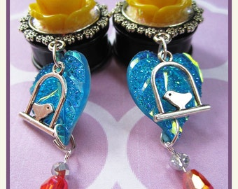 "Shining Rose on Summer Nights EAR PLUGS dangle earrings pick gauge 7/16"", 1/2"", 9/16"", 5/8"", 11/16"", 7/8"", 1"" aka 12, 14, 16, 18, 22mm, 25mm"