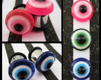 Eyeball glass Eyes on stainless steel morbid oddity EAR PLUGS earrings pick gauges and color 8g, 6g, 4g, 2g, 0g, 00g aka 3, 4, 5, 6, 8 10mm
