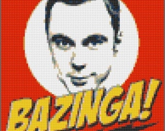 Lego Sheldon Mosaic Bazinga Big Bang Theory