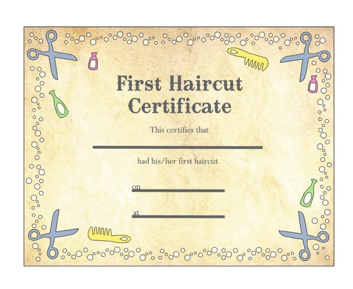 my first haircut certificate template baby 39 s first haircut certificate keepsake laminated