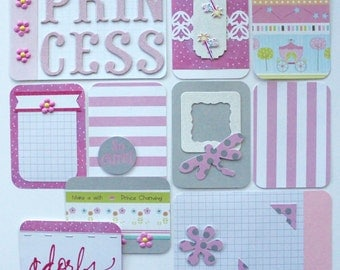 Pocket Cards Princess for Project Life & Pocket Scrapbooking, Handmade Lot of 10 Cards