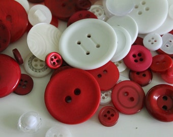 Red white assorted buttons, lot of 100 mixed red and white Christmas buttons, assorted sizes and shapes, craft buttons, mixed buttons