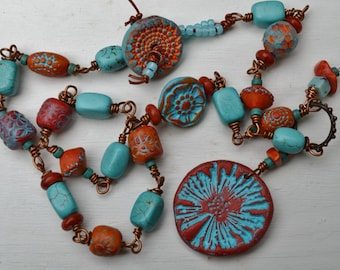 Boho turquoise necklace SweetBirchDesigns - DayLilyStudio