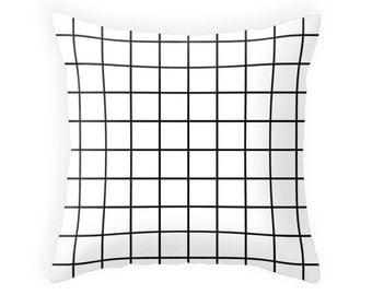 Grid pillow Grid cushion grid decor geometric pillow geometric White pillow black and white pillow White cushion White grid pillow