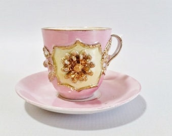 Pink Tea Cup and Saucer Set, Small Tea Cups, Vintage Tea Cup and Saucer