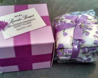 Vintage Avon Lavender Bouquet Six Lavender Fragranced Sachet Pillows NIB