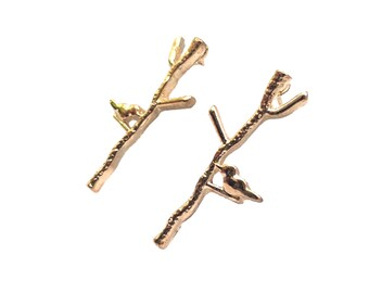 Tiny Bird on Branch Earrings - Gold Toned