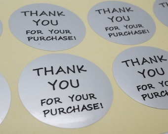 """100xSilver Foil  seal Sticker with """"Thank You for your purchase!"""" for Shipping Labels Stickers Seals"""