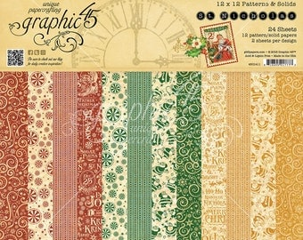 Graphic 45 St. Nicholas 12x12 Patterns and Solids Paper Pad, SC007646