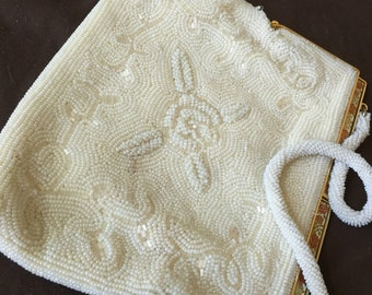 Vintage White Beaded Purse Bag from Japan