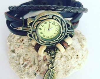 Boho braided bracelet & watch bundle, boho, bohemian, hippie chic, braided bracelet, boho watch, brown leather, faux leather