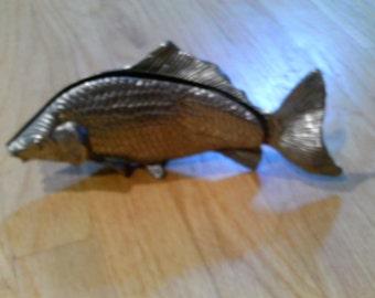 Unusual Aluminum fish napkin or letter holder