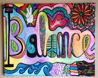 """Psychadelic Watercolor Painting - """"Find Balance"""" - 16"""" x 20"""" - One of a kind - Handmade - Michigan Made - Art"""