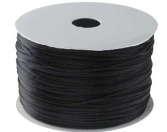Black Satin Rattail Cord-1.5mm-70 yard spool-Jewelry Supplies-chain supplies