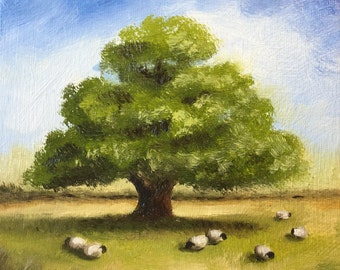 Sheep & Oak tree, Original Oil Painting, Welsh Landscape by Jane Palmer