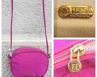 Fendi handbag Fendi shoulder bag in pink silk 80-years-Vintage Fendi bag