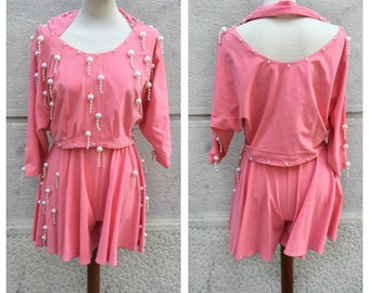 80s Cotton and Pearls Top and Shorts