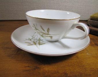 Bristol Fine China - Gala - Teacup and Saucer Set - Tan Wheat - Gray Flowers