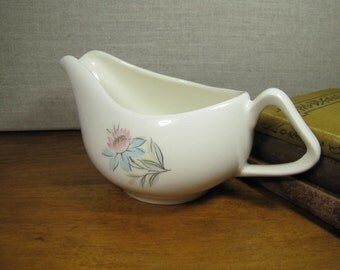 Vintage Small Gravy Boat - Pink and Blue Flowers - 1960's