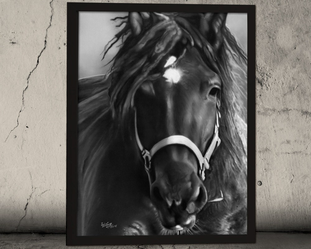 Wall Art Black Horse : Black horse painting wall decor animal art