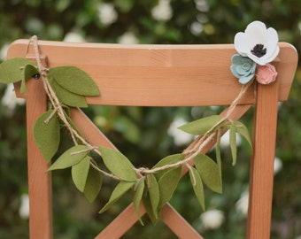 Chair garland - Bride and Groom Chair Garland - Rustic wedding chair decoration - High Chair Garland