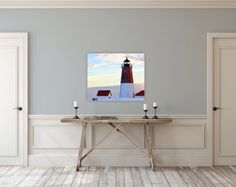 Point Judith Lighthouse ~ Narragansett, Rhode Island, Canvas Gallery Wrap, Artwork, Coastal Decor, Lighthouses, Nautical, Beach Photography