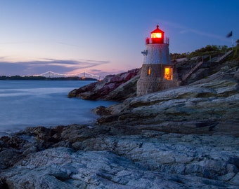 Illuminated Castle Hill Lighthouse ~ Newport, Rhode Island, Photograph, Night Photo, Nautical, Ocean, Coastal Decor, New England, Artwork