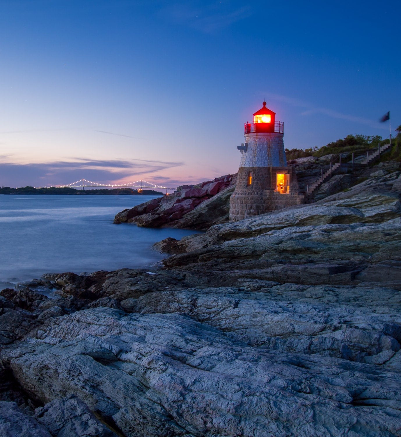 Illuminated Castle Hill Lighthouse Newport Rhode Island