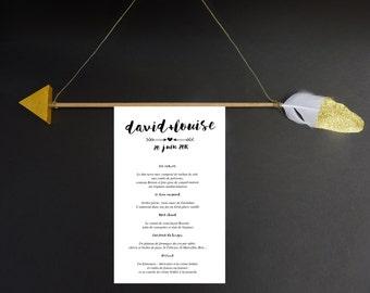 Cupid arrow menu wedding